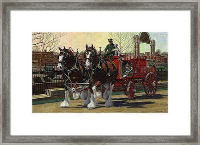 Two Horse Training Wagon Framed Print by Don  Langeneckert