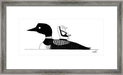 A Baby Duck In A Tiny Car Seat On The Mother Framed Print by Seth Fleishman