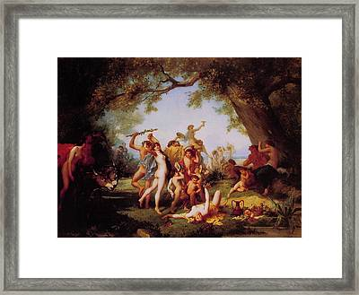 Framed Print featuring the painting A Bacchanal  by Bourgoin
