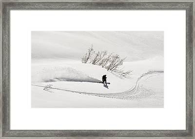 A Backcountry Snowboarder Carving In Framed Print