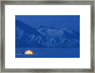 A Backpacking Tent Lit Up At Twilight Framed Print