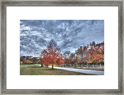 A Backroad In The Rural Countryside Of Maryland During Autumn Framed Print