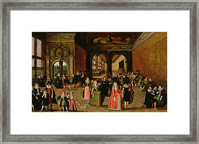 A Ball During The Reign Of Henri Iv Oil On Panel Framed Print by Louis de Caullery