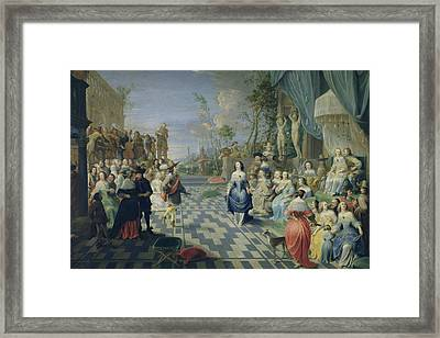 A Ball On The Terrace Of A Palace Oil On Canvas Framed Print by Hieronymus Janssens