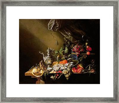 A Banquet Still Life Framed Print by Cornelis de Heem