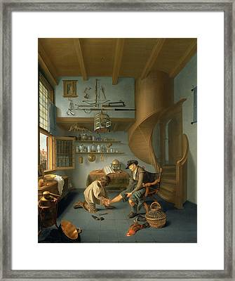A Barber Surgeon Tending A Peasants Foot, C.1650 Panel Framed Print by Koedyck
