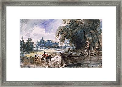 A Barge On The Stour Framed Print by John Constable