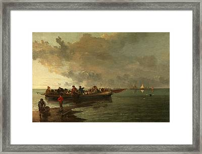 A Barge With A Wounded Soldier, John Crome Framed Print by Litz Collection