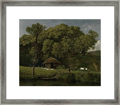 A Barn On The Bank Of A Stream In Gelderland Framed Print