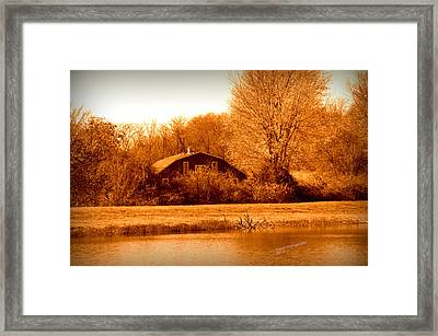 A Barn On The Lake Framed Print