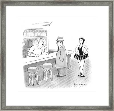 A Bartender Talks To A Member Of The Mafia Framed Print
