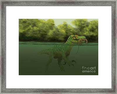 A Baryonyx Escapes Swimming Framed Print by Alvaro Rozalen