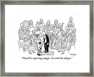A Baseball Catcher Speaks To An Orchestra Framed Print