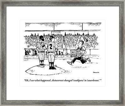 A Baseball Pitcher Stands On A Mound. A Player Framed Print