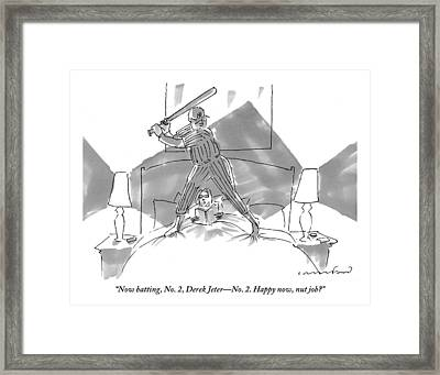 A Baseball Player About To Take A Swing Stands Framed Print