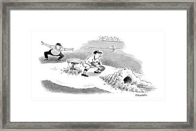 A Baseball Player Sliding Into A Base Framed Print