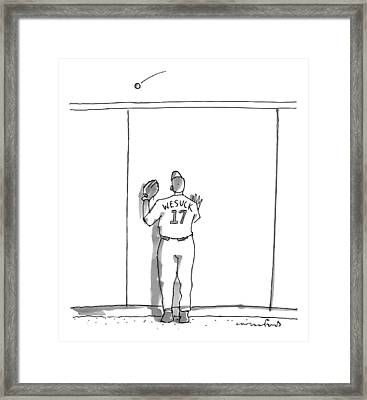A Baseball Player Watches A Ball Fly Over A Wall Framed Print