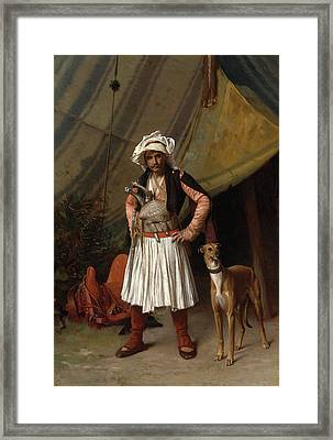 A Bashi Bazouk And His Dog Framed Print by Jean-Leon Gerome