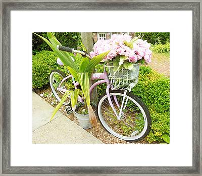 Framed Print featuring the photograph A Basket Of Peonies by Rosemary Aubut