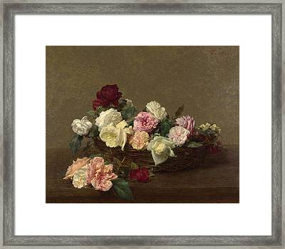 A Basket Of Roses Framed Print