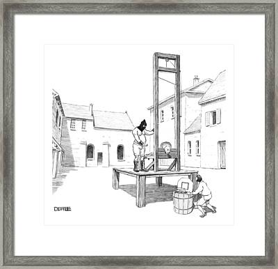A Basketball Hoop Is Placed Under A Guillotine Framed Print