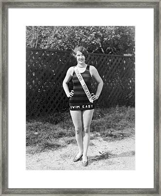 A Bathing Suit With Advertising Framed Print by Underwood Archives