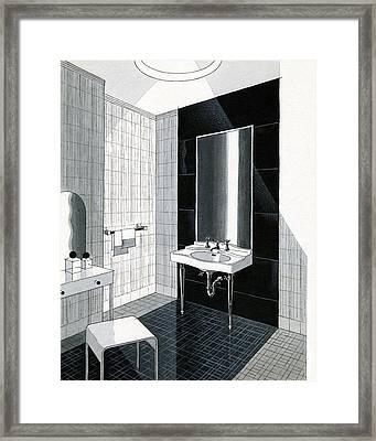 A Bathroom For Kohler By Ely Jaques Kahn Framed Print