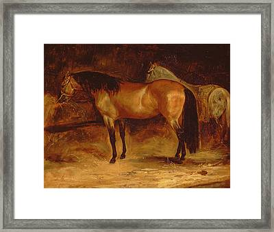 A Bay Horse At A Manger, With A Grey Horse In A Rug Framed Print