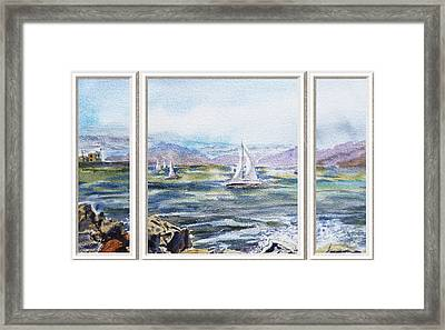 A Bay View Window Rough Waves Framed Print
