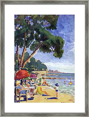 A Beach Scene At Juan-les-pins, Cote Framed Print