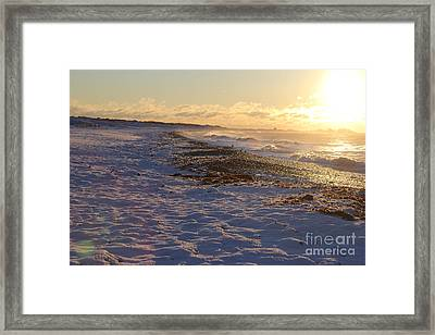 A Beachy Sunrise In The Winter Framed Print