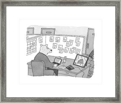A Bear Dressed As An Office Worker Sits Framed Print by Peter C. Vey