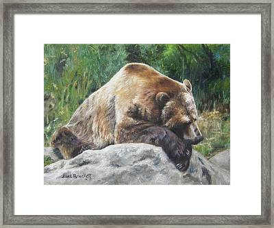 Framed Print featuring the painting A Bear Of A Prayer by Lori Brackett