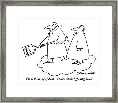 A Bearded Man Standing On A Cloud Is Shoveling Framed Print by Charles Barsotti