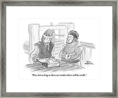 A Bearded Wise Man Looks Over A Book Framed Print