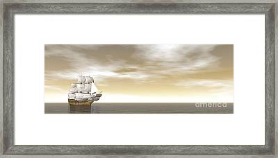 A Beautiful Old Merchant Ship Sailing Framed Print
