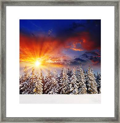 A Beautiful Sunset In The Winter Framed Print by Boon Mee