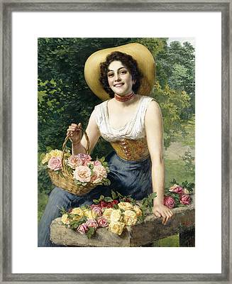 A Beauty Holding A Basket Of Roses Framed Print by Gaetano Bellei