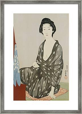 A Beauty In A Black Kimono Framed Print by Hashiguchi