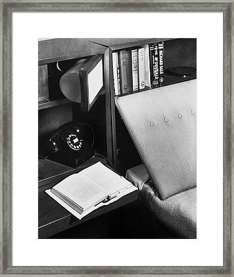 A Bed And A Open Book Framed Print