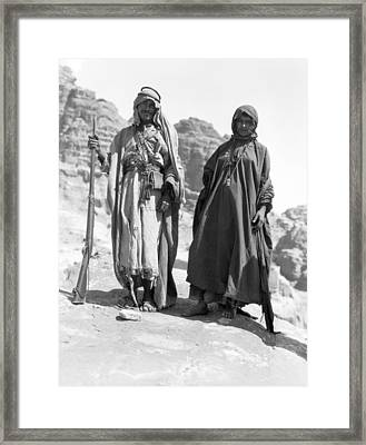 A Bedouin And His Wife Framed Print by Underwood Archives