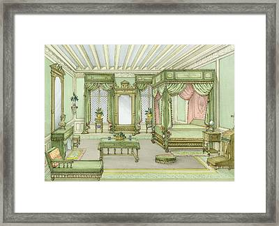 A Bedroom Interior In Henri II Style Framed Print