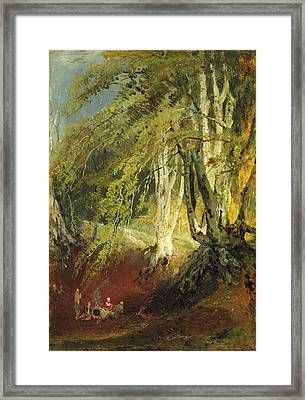 A Beech Wood With Gypsies Seated Round Framed Print