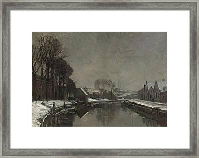 A Belgian Town In Winter Framed Print by Albert Baertsoen