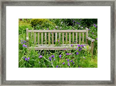 A Bench For The Flowers Framed Print