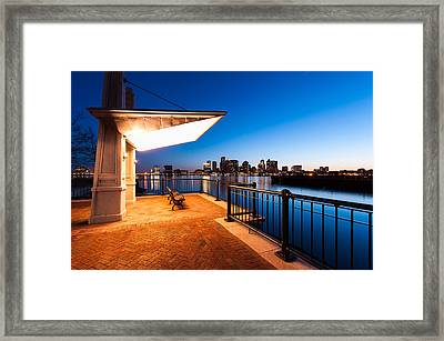 A Bench With A View Framed Print by Lee Costa