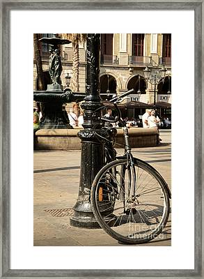 A Bicycle At Plaza Real Framed Print by RicardMN Photography