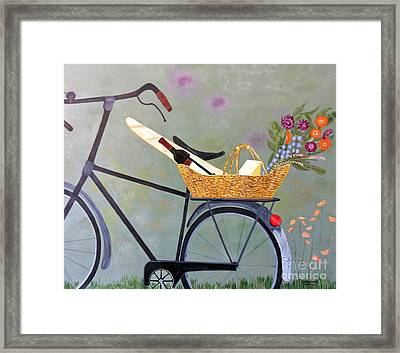 A Bicycle Break Framed Print by Brenda Brown