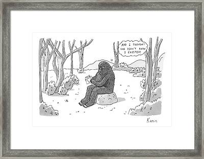 A Big Foot Type Creature Reads A Valentine Card Framed Print