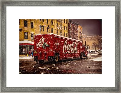 A Big Red Truck In The Barrio Framed Print by Chris Lord